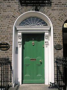 Green Door, Merrion Square, Dublin, Ireland Photographic Print by Jon Arnold Front Door Paint Colors, Painted Front Doors, Front Door Design, Front Door Decor, Exterior Front Doors, Victorian Front Doors, Green Front Doors, Brown House, Windows