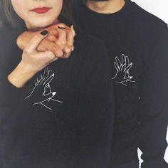 Men Women Couple Hoodies Spring Autumn Black Graphic Lover's interlocking Fingers Hand Print Pullovers High Quality Sweashirt Men Women Couple Hoodies Spring Autumn Black Graphic Lover's interlock – geekbuyig - Sweatshirt Cute Couple Shirts, Matching Couple Outfits, T Shirt Couple, Hoodie Sweatshirts, Hoody, T-shirt Paar, Matching Hoodies For Couples, T Shirts For Women, Clothes For Women
