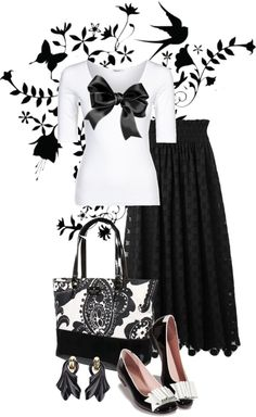 """""""black and white"""" by sagramora ❤ liked on Polyvore (with heels this would be great!)"""