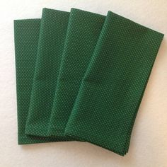 Cloth Napkins in a Dark Green Fabric with a  Tiny Gold Polka Dot Pattern Green Table, Gold Polka Dots, Cloth Napkins, Green Fabric, Green Cotton, Cotton Fabric, Dark, Pattern, Clothes