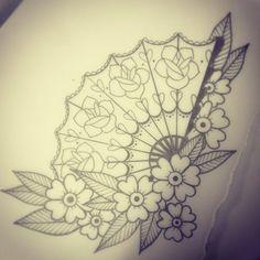 asian fan tattoo designs - Google Search                                                                                                                                                      More