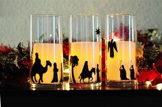 Nativity Candle Holders made with Cricut New Testament and Nifty Fifties cartridges