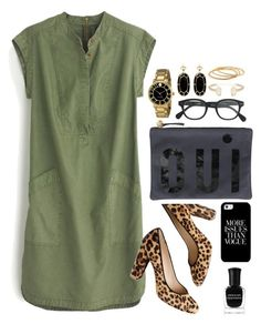 Green & Black by classycathleen on Polyvore featuring polyvore fashion style J.Crew Clare V. Kate Spade Kendra Scott YooLa Deborah Lippmann