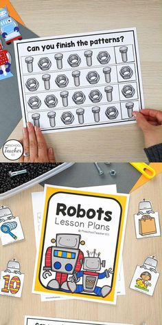 Robots are fascinating to preschoolers, so a robot theme is a great way to get students engaged and excited about learning. In this week-long theme of 30+ robot activities kids will create their own robots, engage in robot-inspired sensory play, and learn about concepts like counting, patterning, shapes, beginning sounds, letter recognition, magnetism and more with robot-inspired activities. Preschool Lesson Plans, Preschool Themes, Preschool Classroom, Toddler Preschool, Preschool Activities, Hands On Activities, Learning Activities, Robot Theme, Thematic Units