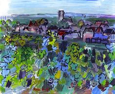 Burgundy Landscape  by Raoul Dufy (France)