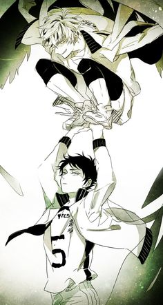 """I swear all I could think when I saw this was High School Musical's """"I'm soarin', Flyinnnn'! There's not a star in heaven that we can't reeeeach!"""" bokuto & akaashi - haikyuu"""