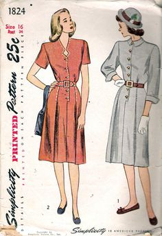 Vintage 1940's Simplicity 1824 One-Piece Dress with Keyhole Neckline Sewing Pattern Size 16 Bust 34""