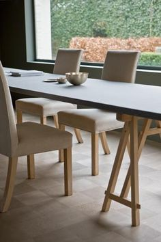 simple rustic elements, trestle table and pale dining chairs - Vigilando Interiors