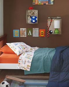 Skateboards- cool sheets and colors in the room. but not the stuff on the wall (at.all.). : )