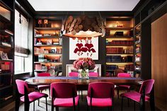 For a New York home, interior designer Miles Redd demonstrated his signature talent for working with big, bold hues. The lacquered walls of the apar
