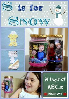 "S is for Snow is part of a series ""31 Days of ABCS"" with 31 other fabulous bloggers.  For our craft and activity we made personalized snow globes, and made a flannel story based on the poem Snowball by Shel Silverstein.  There is a FREE template to help you create your own flannel story.  Enjoy!  jugglingwithkids.com"