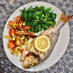 Pražma na grilu s kapustou a kořenovou zeleninou. Korn, Meat, Chicken, Fitness, Cubs