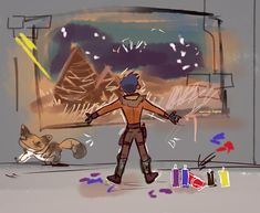 """""""Ezra brings out his inner artist! """" Bonus: With a special critique from Bine! Star Wars Rebels, Sw Rebels, Star Wars Clone Wars, Star Wars Art, Star Trek, Ahsoka Tano, Ezra And Sabine, Star War 3, Star Wars Humor"""