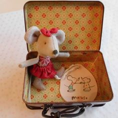 Maileg Little Sister Christmas Mouse in a Suitcase