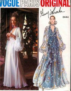 70s Vogue Paris original Pattern 2444 Guy Laroche Dreamy Evening Gown Plunging To The Waist Neckline Full Bishop Sleeves Slim Underdress Bias Over Dress Beautiful Design