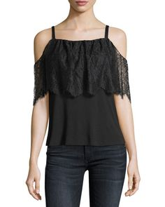 f026e8619a1213 Bailey 44 Montage Cold-Shoulder Top with Lace Overlay