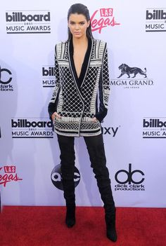 Kendall Jenner walked the red carpet at the Billboard Music Awards in the first pieces from H&M's Balmain collaboration.