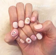 Make an original manicure for Valentine's Day - My Nails Stylish Nails, Trendy Nails, Korean Nail Art, Kawaii Nails, Nails For Kids, Minimalist Nails, Toe Nail Designs, Cute Nail Art, Pastel Nails