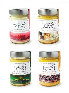Tava Organics is an artisan producer of organic ghee, or clarified butter. Miller was tasked with creating Tava's branding and packaging design. Organic Packaging, Cool Packaging, Food Packaging Design, Bottle Packaging, Packaging Design Inspiration, Brand Packaging, Product Packaging, Packaging Ideas, Branding Design