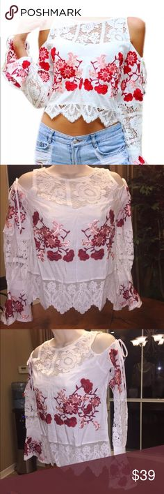 Embroidered cold shoulder top. Size medium Super beautiful embroidery covers this doppelganger for FL&L Cecelia blouse without the label or price tag. Tagged under FL&L for exposure For Love and Lemons Tops Blouses