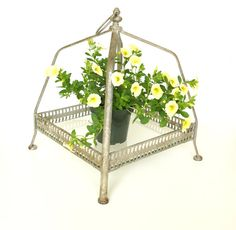 Vintage Metal and Glass Shelf / Plant Holder / Party by #ThirdShift #tvteam #virtuosoetsy