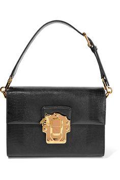 Dolce & Gabbana - Lucia Lizard-effect Leather Shoulder Bag - Black