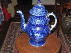 Historic Blue Staffordshire High Dome Coffee Pot Lafayette At The Tomb RARE