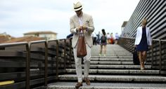 http://chicerman.com  billy-george:  Summer suit stylin  Spotted at Pitti Uomo 88  Photo by Marc Richardson  #streetstyleformen