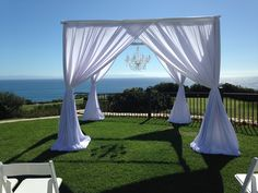 Beach Cabana with Chandelier wow what a view.  ‪#‎PipeandDrapeOrangeCounty‬