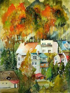 """Gallerystore, Tomasz Olszewski, (Akwarela) """"Łagowska jesienna impresja I"""" #modernart #contemporaryart #painting #artgallery #design #paintingart"""