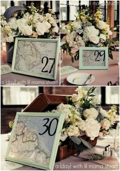 Cute and fun table card ideas for destination weddings. Incorporate maps to carry on that travel theme!