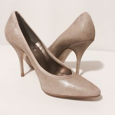 """Tan Suede 'On To Point Court Heels' Add a little sparkle to your life with these beauty! Pointed metallic suede with a stiletto heel.  Suede upper  Leather sock  Leather Lining  Synthetic sole  3"""" heel Rubber grips (for traction)  Worn twice  Shoes labeled as a 40 - runs small fits a 8.5 Office Shoes Heels"""