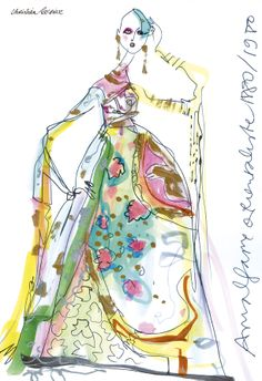 """""""Amalgame Orientaliste 1880/1980"""", Christian Lacroix couture, illustrated by Christian Lacroix. TANK, volume 3, issue 10."""