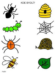 Pro Šíšu: Spojovačky Bug Activities, Preschool Learning Activities, Free Preschool, Kindergarten Worksheets, Infant Activities, Preschool Activities, Teaching Kids, Community Helpers Worksheets, Farm Animals Preschool