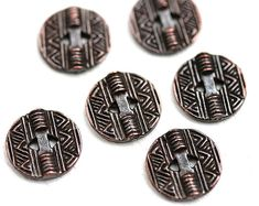 $3.94 - 6pc Round Copper Buttons, Geometric Metal buttons, rustic greek casting beads, Lead Free, 13mm  - F392