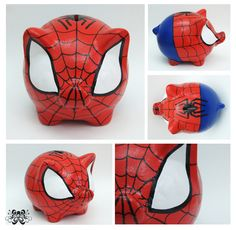 SPIDERMAN Piggy Banks, Chalkboard Art, Clay Pots, Cool Baby Stuff, Cool Kids, Spiderman, Ceramics, Made By Hands, Paper Mache