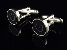 The Power Button Cuff Links Remind People to Power Down and Relax #mensfashion #mensaccessories