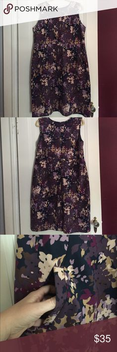 """Land's End Floral Ponte Sheath Dress Pretty purples, blues and neutral flowers on this classic Ponte Sheath from Lands End. Classic style, hidden zipper and front pockets. Bust 22"""" with stretch, length 41"""". I've never worn this, perfect condition, NWOT. Lands' End Dresses"""