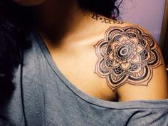 Great placement. I have a variation of this mandala on my shoulder, but I went for color. Love the black and grey too.