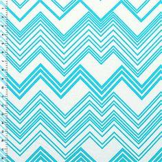 Azure Blue Linear Chevron Cotton Jersey Blend Knit Fabric