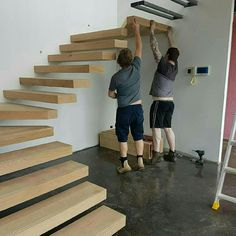 ideas for floating wooden stairs stairways Steel Stairs, Loft Stairs, House Stairs, Wood Staircase, Floating Staircase, Staircase Design, Spiral Staircases, Staircase Ideas, Staircase Manufacturers