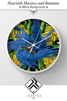 Hyacinth Macaws and Bananas Stravaganza (black background) wall clock from Iker Paz Studio Society6 Store.