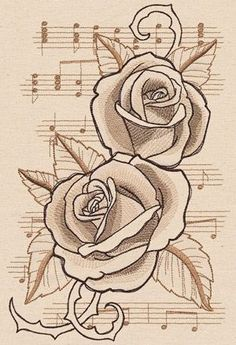 Beautiful Music - Roses | Urban Threads: Unique and Awesome Embroidery Designs