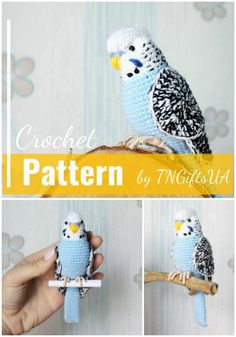 Put a Bird on it - Marcela Strohmaier-Steiss - Put a Bird on it Beautiful budgie amigurumi crochet pattern! This is such a beautiful looking bird crochet pattern! So amazing! Crochet Bird Patterns, Crochet Birds, Crochet Patterns Amigurumi, Cute Crochet, Crochet Animals, Crochet Crafts, Crochet Dolls, Yarn Crafts, Crochet Projects
