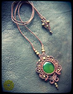 Macrame necklace with Jade stone by EarthBoundMacrame on Etsy