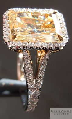 trendiest canary diamond halo | canary diamond ring