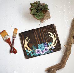Floral Antlers Wood Sign