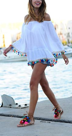 White Off The Shoulder Bell Sleeve Tassel Trimmed Dress