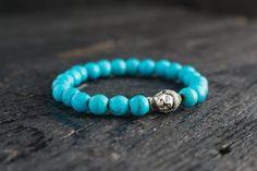 Turquoise beaded Buddha stretchy bracelet, mens bracelet, womens bracelet