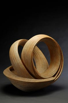 "Sakiyama Takayuki, Open Twisting Sculpture with Ridged Banding, 2011.  14 x 16.5 x 19"", stoneware with sand and orange glaze.  From Joan B Mirviss LTD, New York NY."